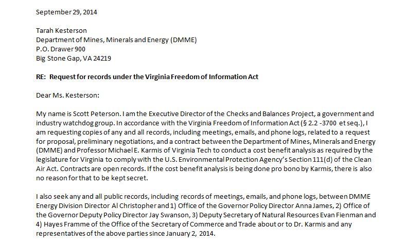 Checks and Balances Project Virginia FOIA