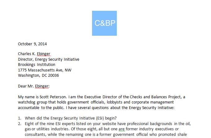 Letter to Brookings Charles K. Ebinger 10.9.14