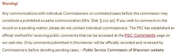 Wisconsin Public Service Commission Ex Parte Rules Gutted