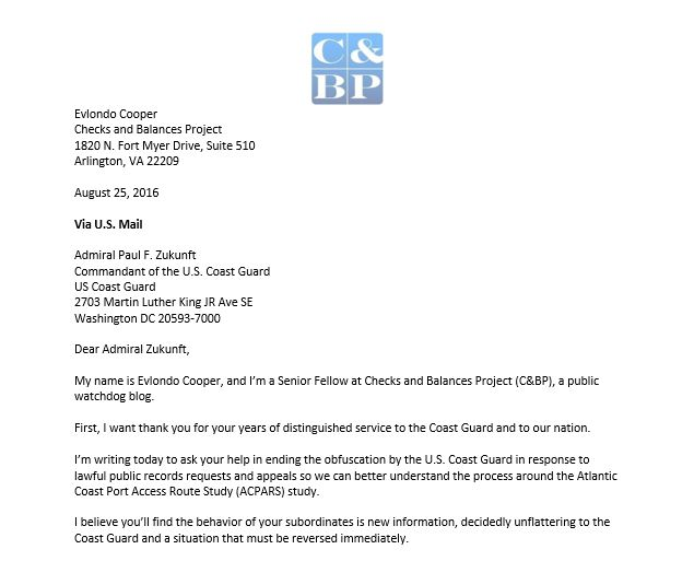 Letter to Admiral Zunkunft