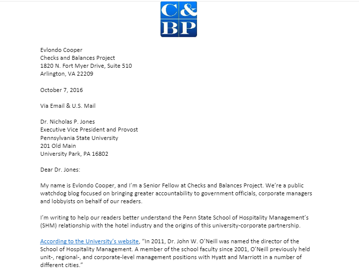 Penn State Letter
