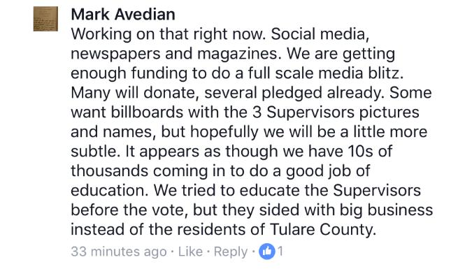 Mark Avedian Facebook Post